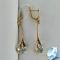 Золотые серьги с топазом и фианитами