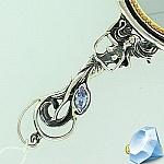 """Зеркало в серебряной оправе с фианитом """"Афродита"""""""
