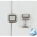 Серебряные запонки с фианитами