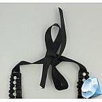 Колье из плетеных черных ниток с кристаллами