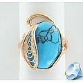 Серебряное кольцо с синтетической бирюзой
