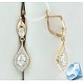 Золотые серьги с кристаллами Сваровски