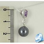 Серебряная подвеска с жемчугом, аметистом и фианитами