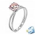 Кольцо из белого золота с пурпурно-розовым кристаллом Сваровски