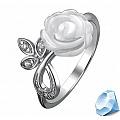 Кольцо с белой розой