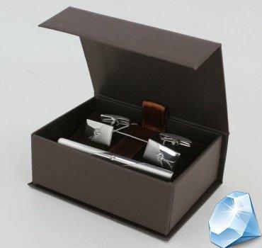 Комплект серебряный зажим для галстука и запонки с фианитами