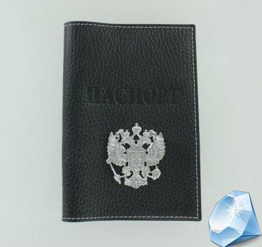 Кожаная обложка для паспорта с серебряным гербом