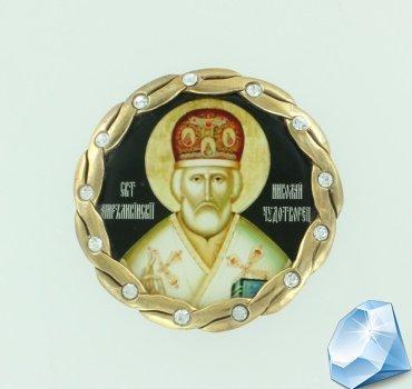 "Серебряная икона для автомобиля ""Николай Чудотворец"""