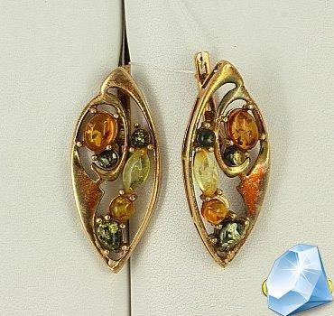 Золоченые серьги с янтарём