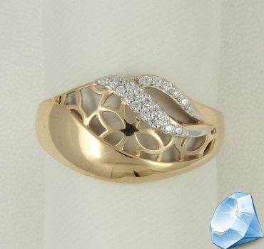 Ажурное золотое кольцо с фианитами