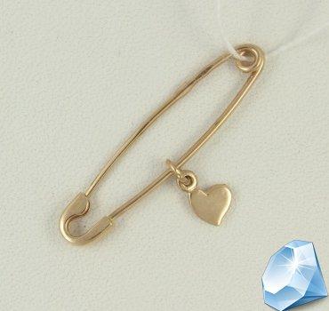 Золотая булавка с сердечком