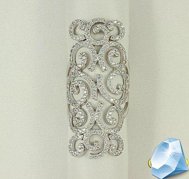 Ажурное кольцо из белого золота с фианитами