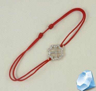 Золотой браслет амулет на счастье Четырехлистник (красная нить с фианитами )