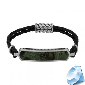 Серебряный мужской кожаный браслет с зелёной яшмой